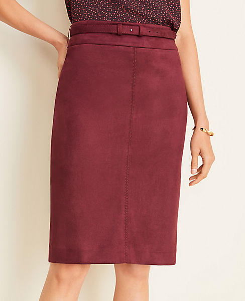 Faux Suede Belted Pencil Skirt