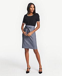 bbb8d061f73 Chambray Tie Waist Pencil Skirt