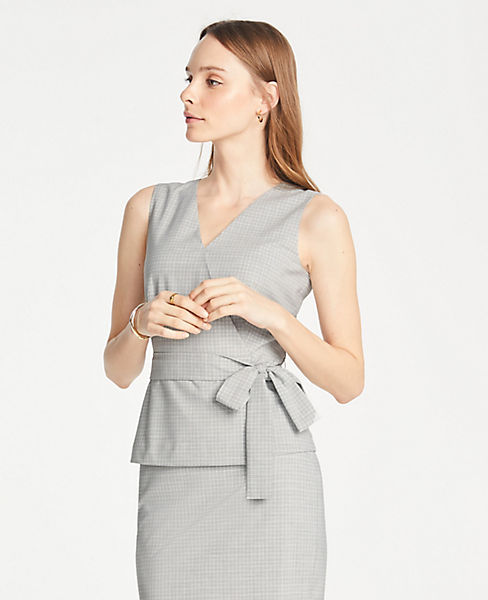 Petite Tie Waist Top in Graph Check