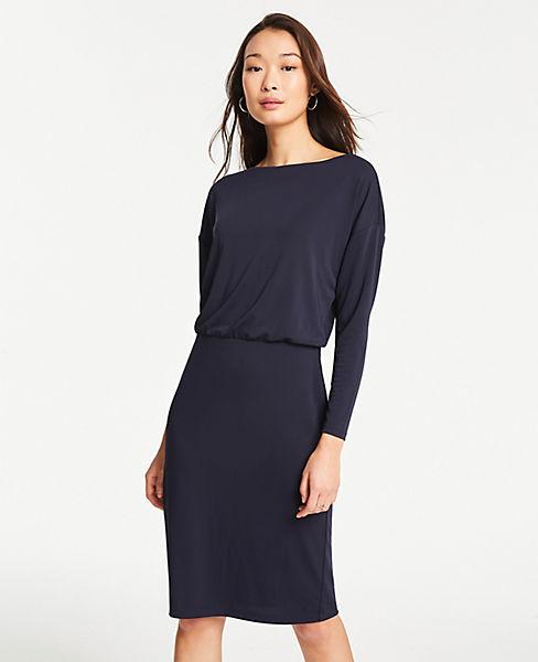 Petite Matte Jersey Shirred Sheath Dress