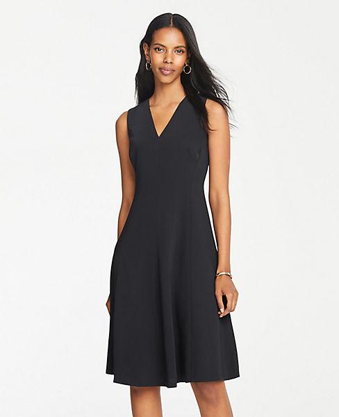 Petite Seamed Sleeveless Flare Dress