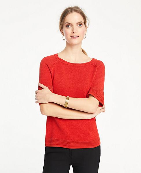 d71fab288f Pointelle Stitch Short Sleeve Sweater Tee | Ann Taylor