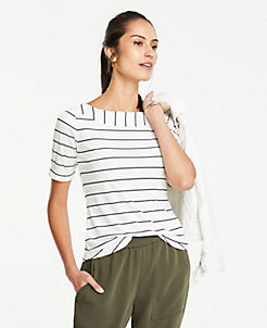 7fdf496080 Striped Matte Jersey Boatneck Tee