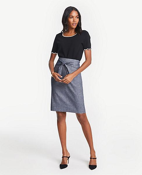 03819a972598ad Petite Chambray Tie Waist Pencil Skirt. Ann Taylor