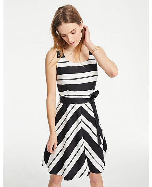 Petite Stripe Belted Flare Dress