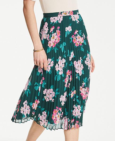 Petite Floral Pleated Skirt
