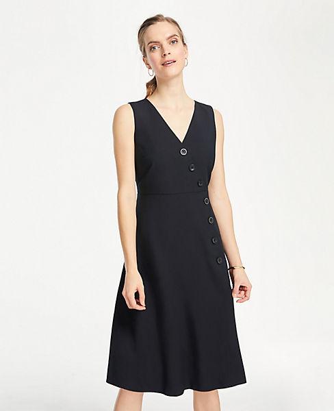 Petite Side Button Linen Blend Flare Dress