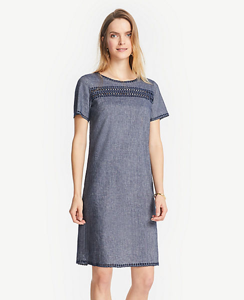 dcb4796dbec0 Petite Embroidered Chambray Shift Dress