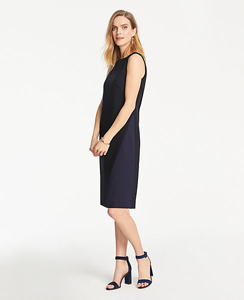Petite Ponte Colorblock Dress