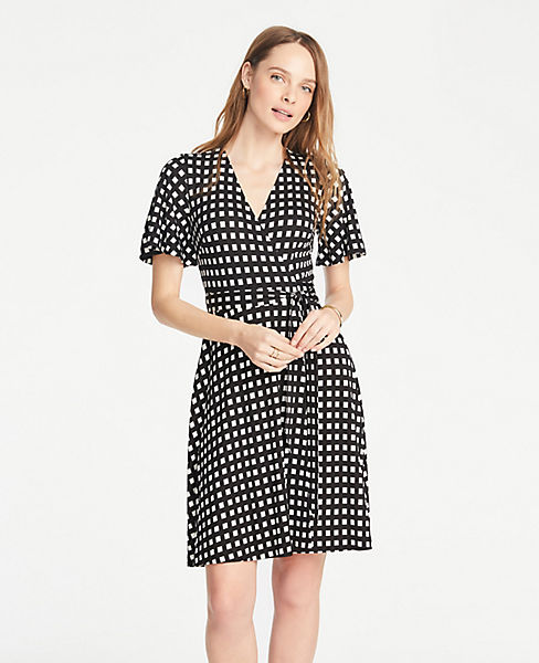 Petite Shadowed Square Flutter Sleeve Wrap Dress