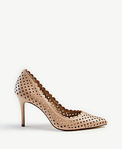 5780bcac2e9 Mila Scalloped Perforated Leather Pumps