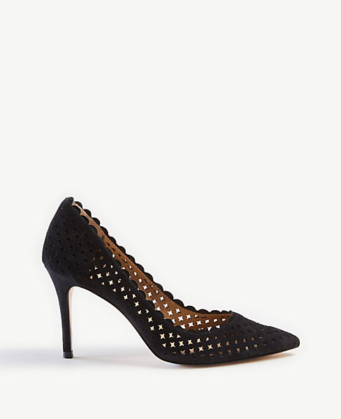 ef25dcde522 Mila Scalloped Perforated Suede Pumps
