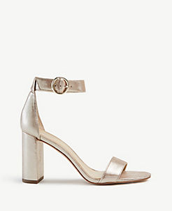 cd4a81d069f Leannette Metallic Leather Block Heel Sandals