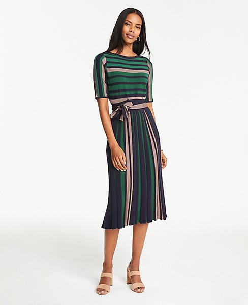 cbd15714f75 Petite Mixed Stripe Belted Sweater Dress