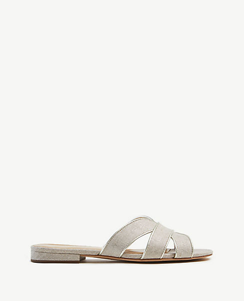 Virginia Metallic Leather Flat Sandals by Ann Taylor