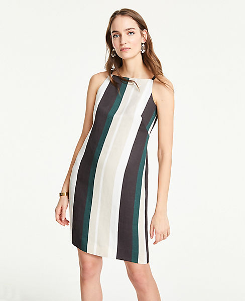 Petite Striped Square Neck Shift Dress