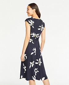 c89cf365eeb18 Image 2 of 3 - Leaves Matte Jersey Belted Flare Dress