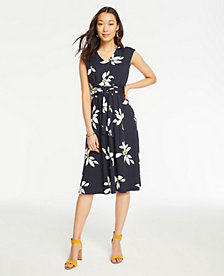 56197aa61ff60 Image 3 of 3 - Leaves Matte Jersey Belted Flare Dress
