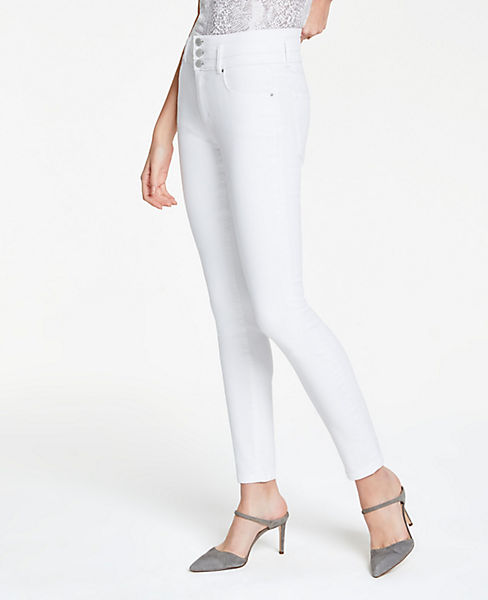 5a974e50 Petite High Rise Performance Denim Skinny Jeans In White | Ann Taylor