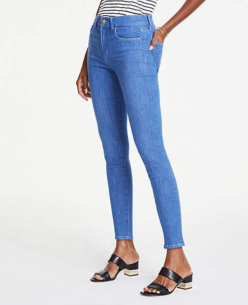 a3ec556801 Petite Performance Stretch Skinny Jeans in Bright Mid Indigo Wash ...