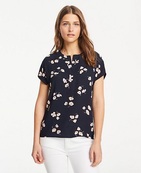 Petite Floral Mixed Media Popover Top