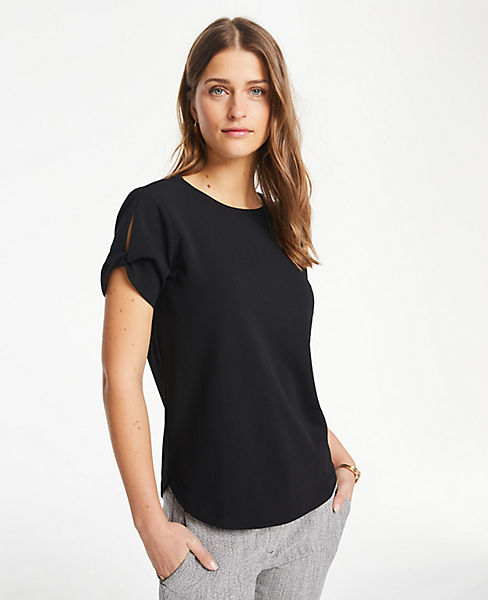 Petite Twist Sleeve Top by Ann Taylor
