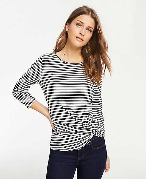 Petite Striped Twist Hem Top