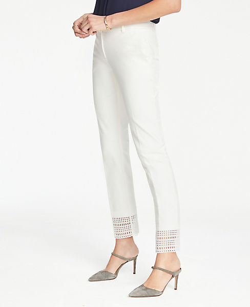 The Petite Ankle Pant In Geo Eyelet - Curvy Fit