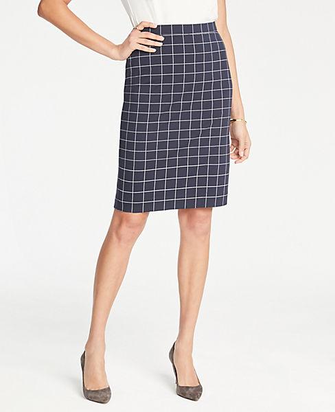 Petite Windowpane Knit Pencil Skirt