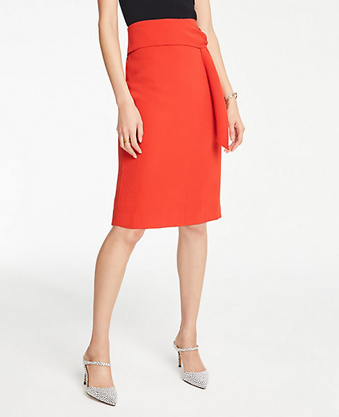 Petite Twist Waist Pencil Skirt