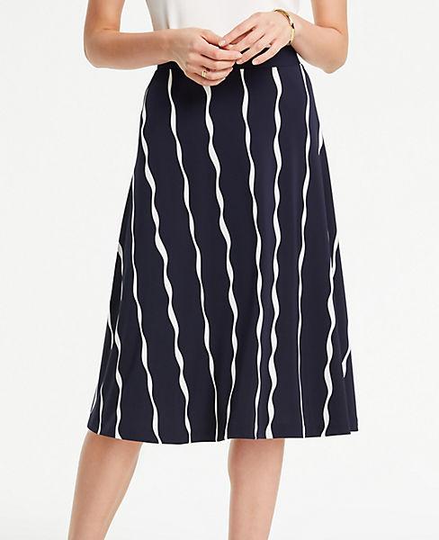 Petite Wavy Stripes Matte Jersey Flare Skirt