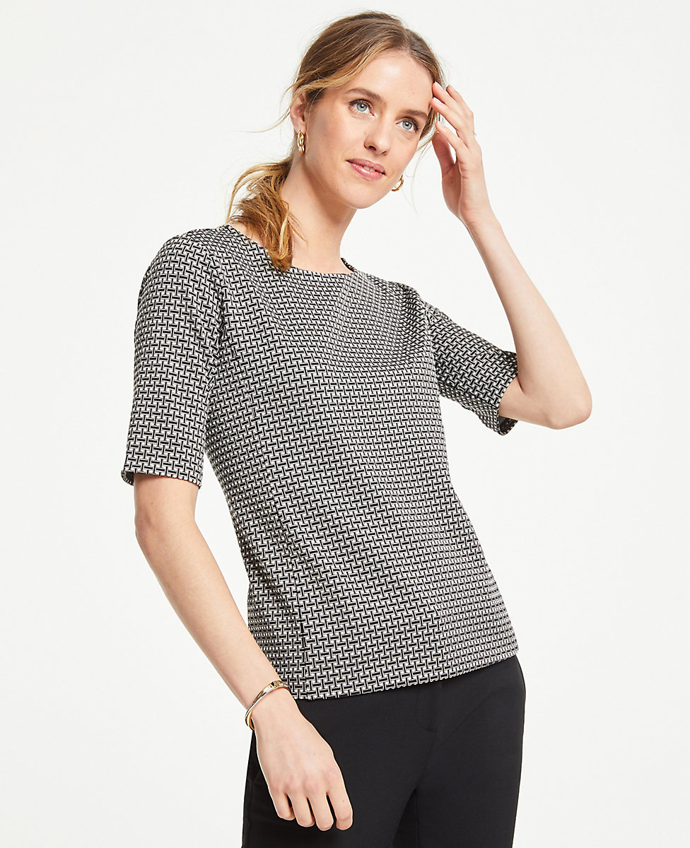Geo Jacquard Short Sleeve Top