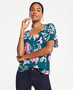 a030a38aec2a Fauna Floral Mixed Media Flutter Sleeve Tee