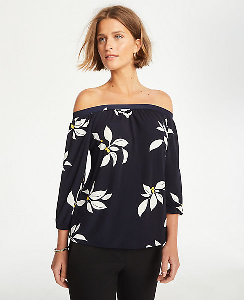 Leaves Matte Jersey Off The Shoulder Top by Ann Taylor