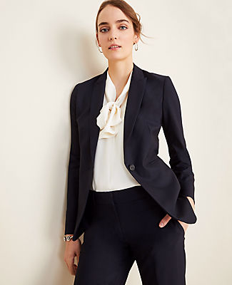 Ann Taylor The One-Button Blazer In Tropical Wool In Blue