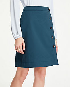 a4a9b505a92 Petite Button Textured A-Line Skirt