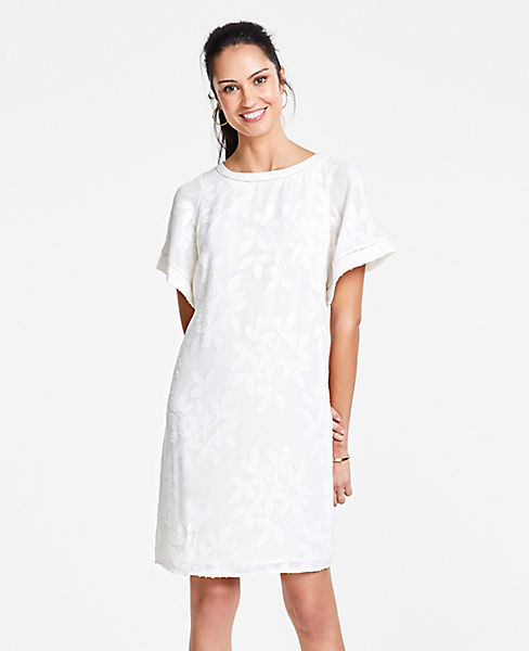 Petite Leaves Jacquard Flutter Sleeve T-Shirt Dress