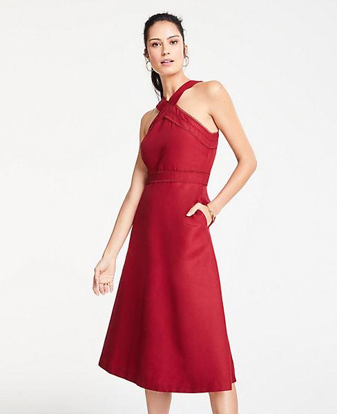 Petite Halter Midi Flare Dress