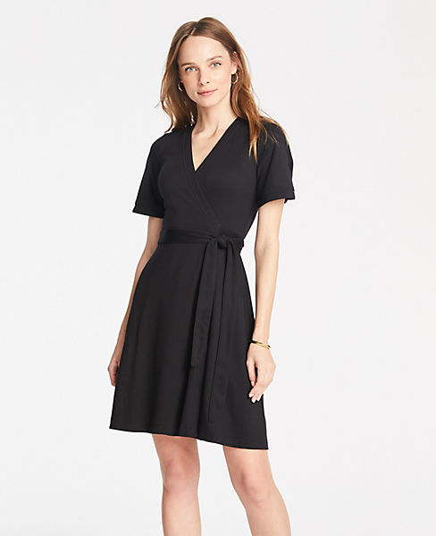Petite Piped Flutter Sleeve Wrap Dress
