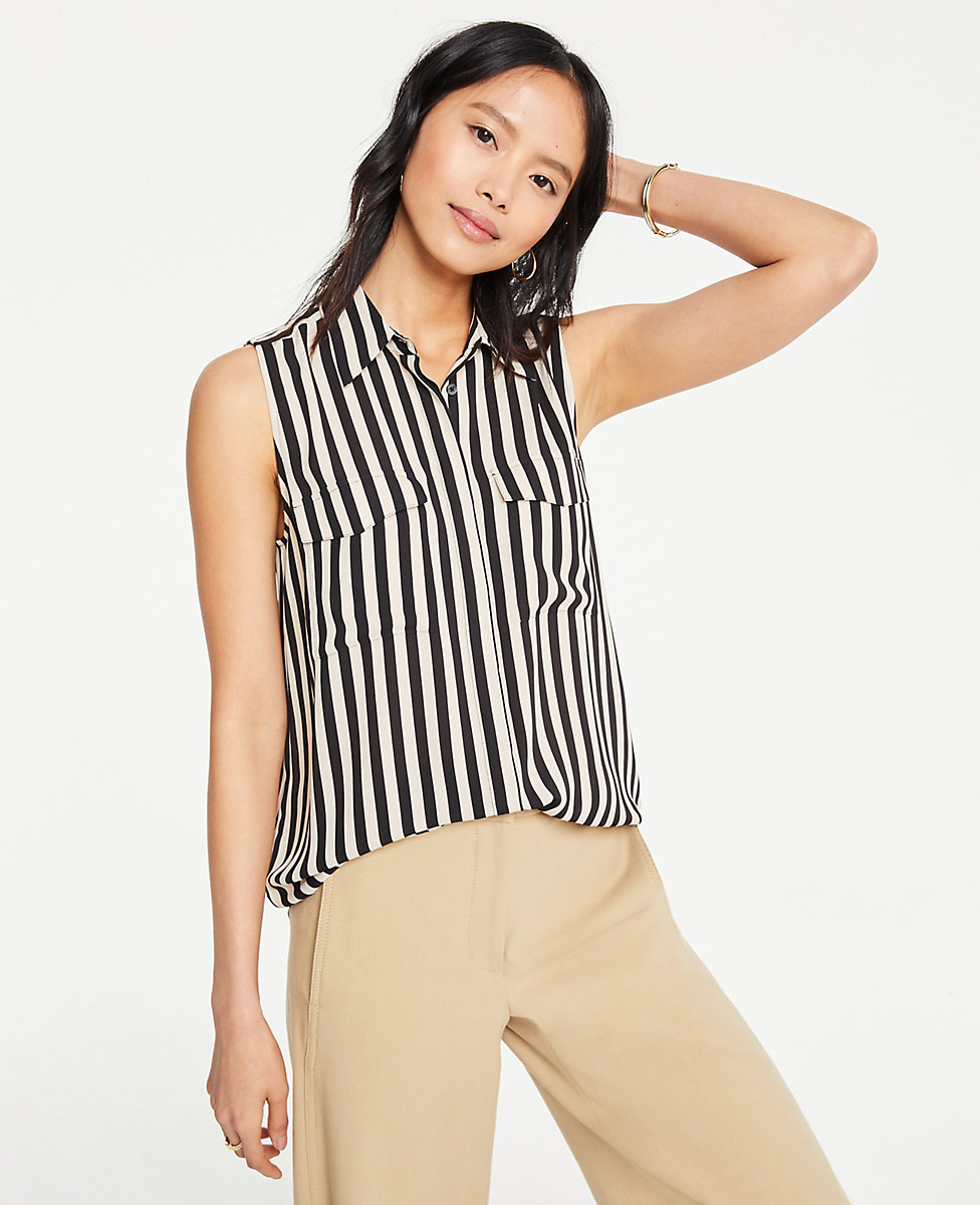 Striped Sleeveless Camp Shirt