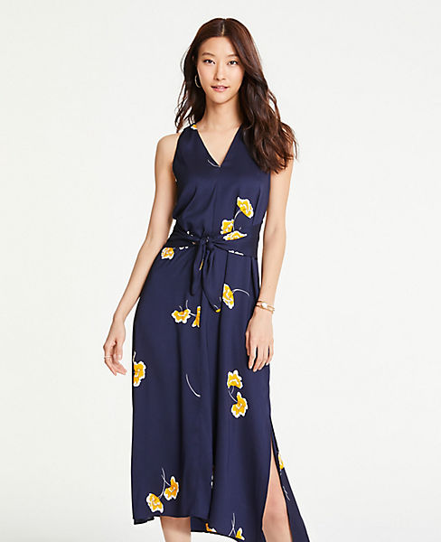 26ec059432a762 Petite Floral Tie Front Midi Dress   Ann Taylor