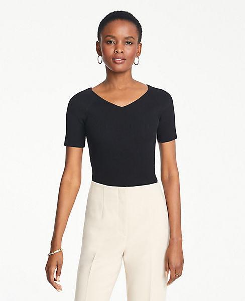 Petite Ribbed V-Neck Short Sleeve Sweater