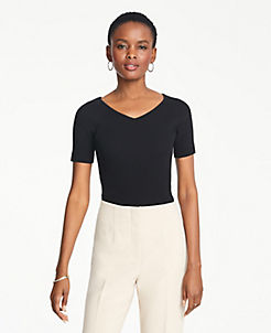 c02c5f35f90 Petite Ribbed V-Neck Short Sleeve Sweater