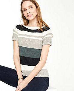 6d9bd563e06 Petite Textured Stripe Short Sleeve Sweater
