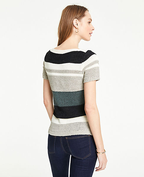601ff580d3c Petite Textured Stripe Short Sleeve Sweater | Ann Taylor