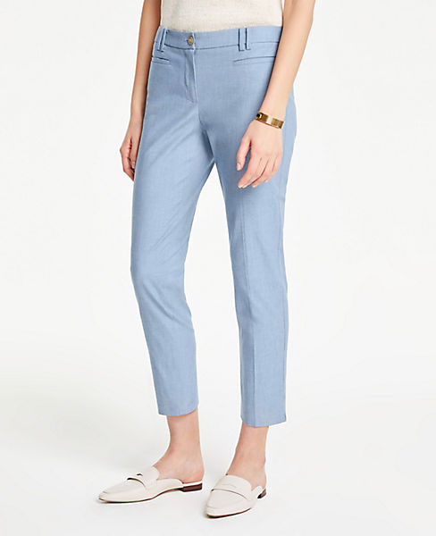 The Petite Cotton Crop Pant in Chambray