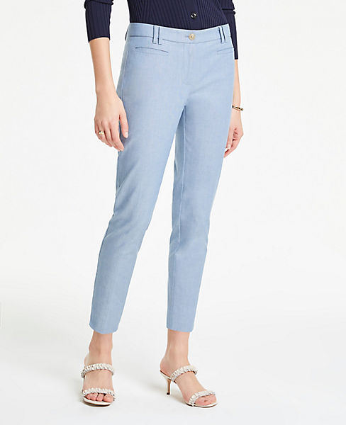 The Petite Cotton Crop Pant in Chambray - Curvy Fit