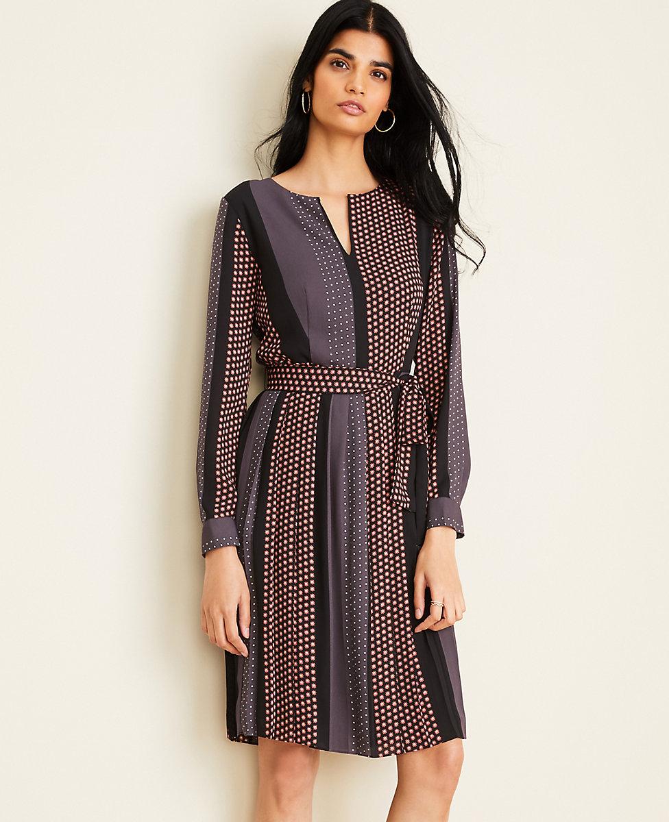Sunflower Stripe Pleated Flare Dress