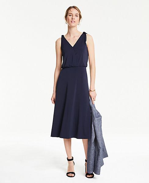 Petite Shoulder Tie Flare Dress