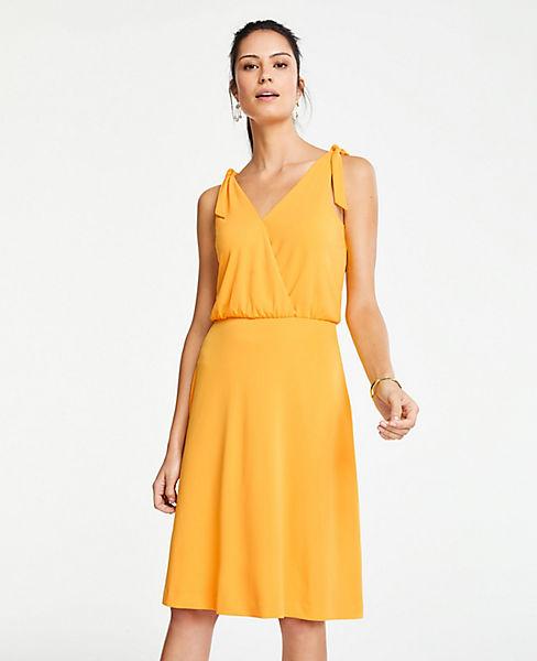 ac90d80ca476 Petite Matte Jersey Shoulder Tie Flare Dress | Ann Taylor